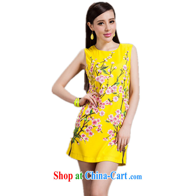 Constitution-yeon Yuen, HERAROMA 2014 summer women's clothing new round-collar peach blossoms stamp embroidery decals beauty dresses yellow XL