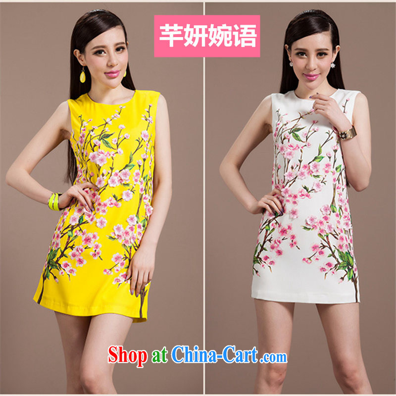 Constitution-yeon Yuen, HERAROMA 2014 summer women's clothing new round-collar peach blossoms stamp embroidery decals beauty dresses yellow XL constitution, Charlene Yuen (HERAROMA), online shopping