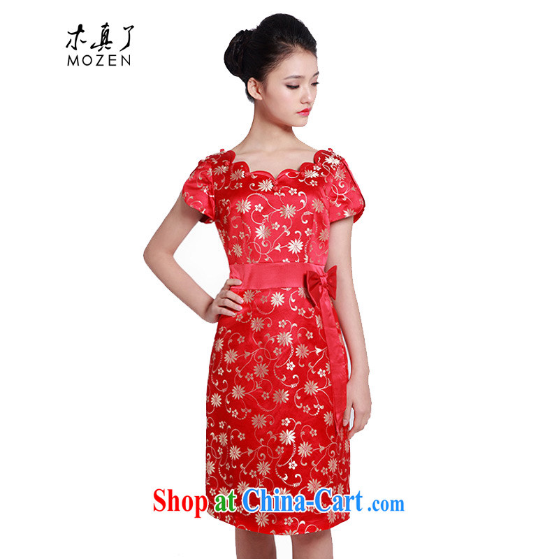 Wood is really the 2015 spring and summer new Chinese wedding dresses bridal toast service improved cheongsam dress 01,237 04 deep red XL