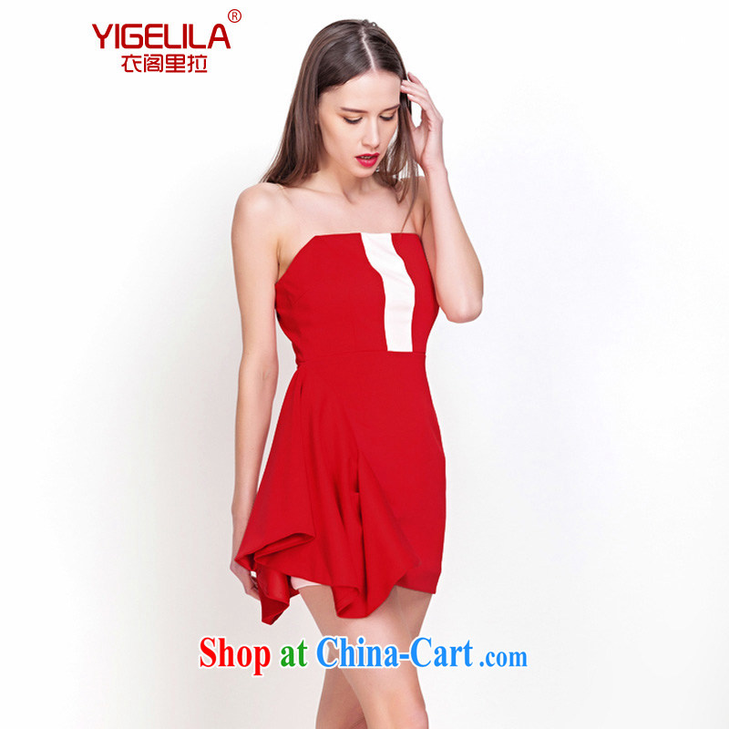 Yi Ge Theo-Ben Gurirab/YIGELILA temperament name Yuan small dress wedding banquet toast dress skirt stylish beauty graphics thin moderator clothing wine red 6562 L