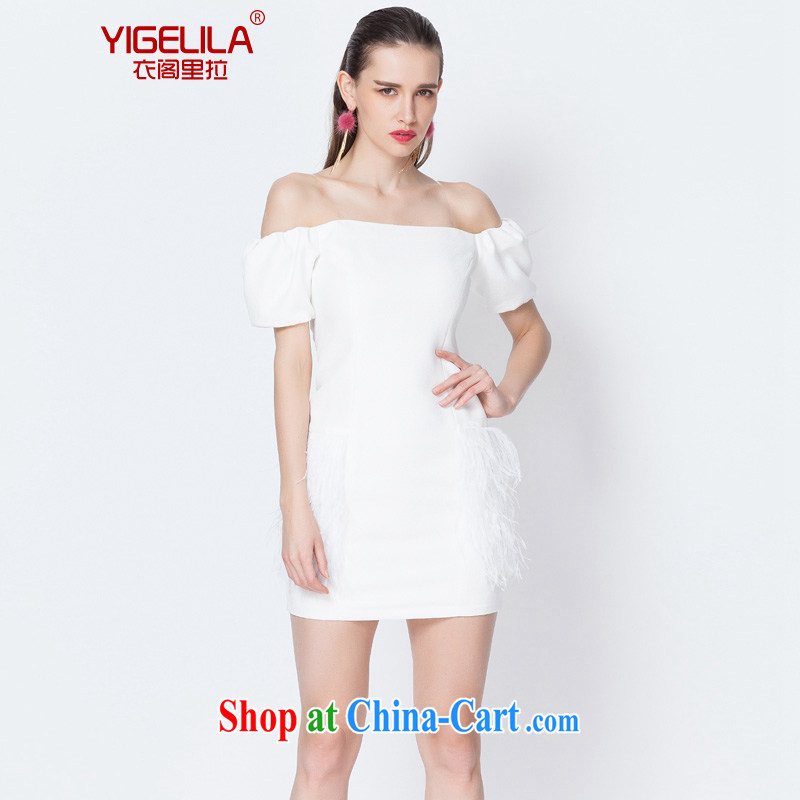 Yi Ge lire/YIGELILA name Yuan manual ostrich Feather Gown skirt package and pencil skirt the Field shoulder straps skirt dress short skirt white 6597 L