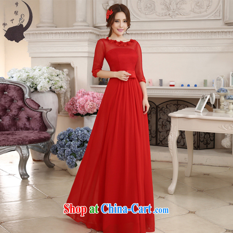 Dream of the day wedding dresses 2015 New Red wedding toast Service Bridal lace-cuff in a short-sleeved wedding dress 368 in red, cuff tailored