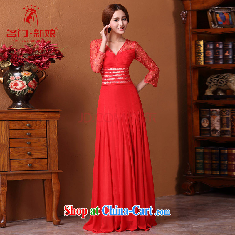 The bride's 2015 New Red dress bows dress lace 9 cuff video thin 587 red L