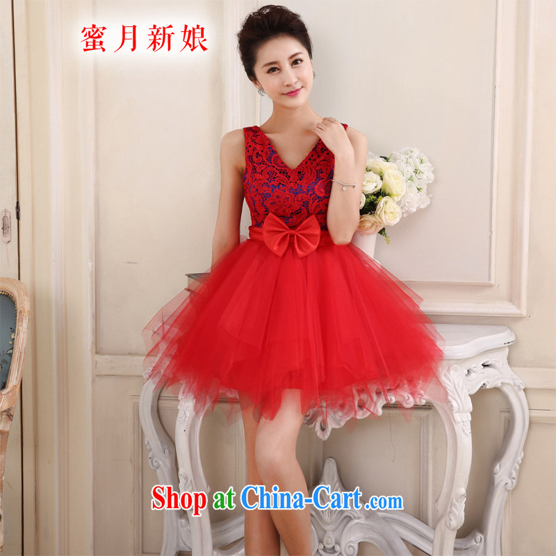 Honeymoon bridal 2015 new bridal dresses short lace short skirt sisters skirt small dress bows dress party Birthday Concert serving red XL