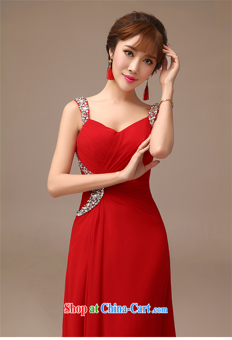 2015 New Red video thin dress bride wedding toast serving long red field shoulder dress red XXL pictures, price, brand platters! Elections are good character, the national distribution, so why buy now enjoy more preferential! Health
