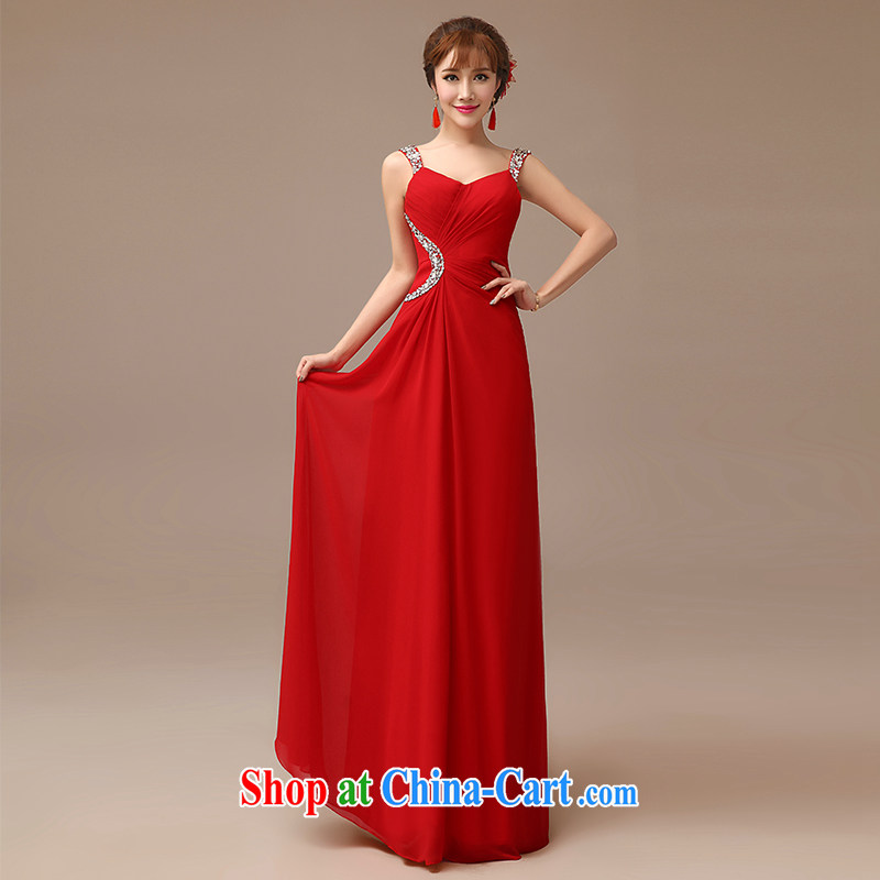 2015 New Red video thin dress bride wedding toast serving long red field shoulder dress red XXL