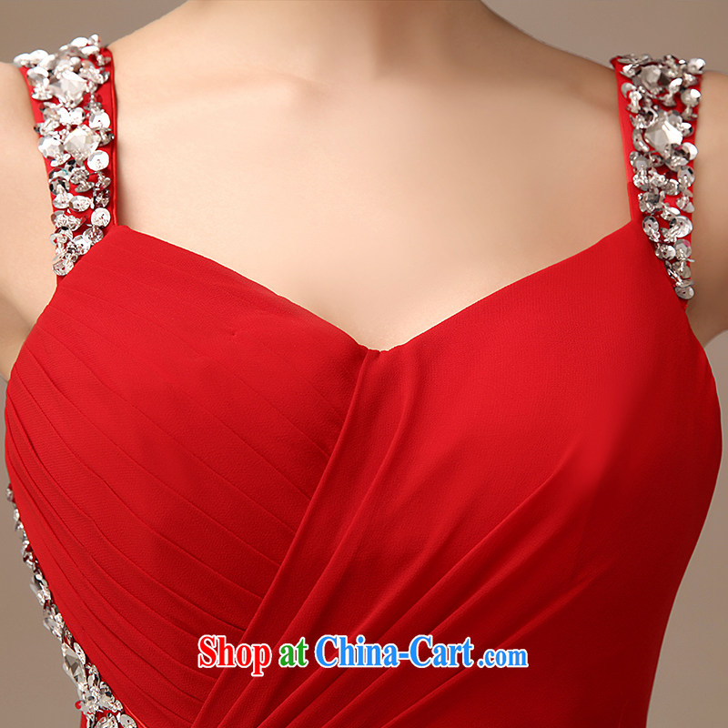 2015 New Red video thin dress bride wedding toast serving long, Red field shoulder dress red XXL, dirty man, shopping on the Internet