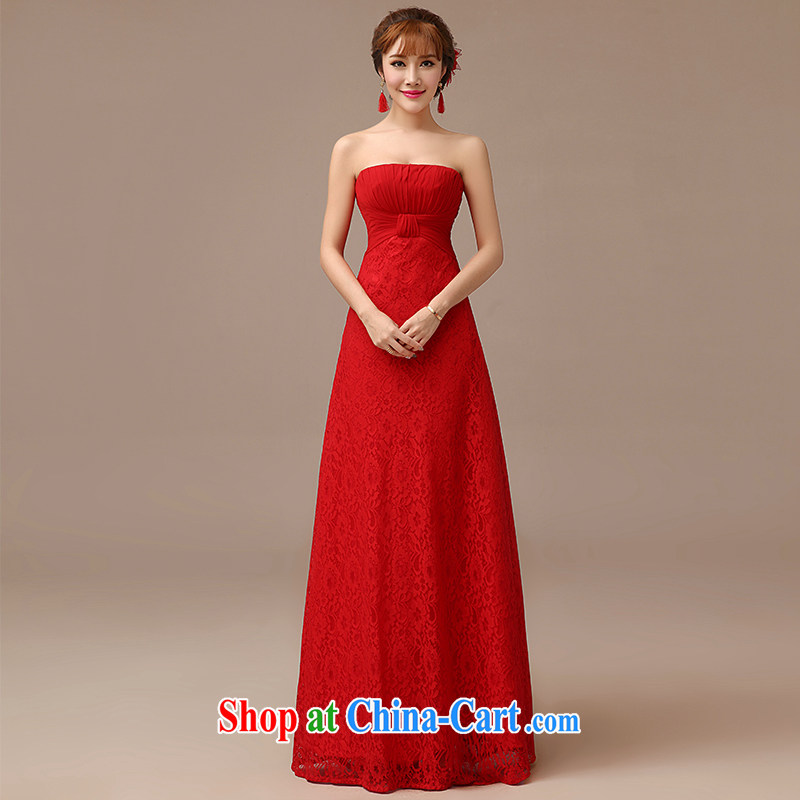 dirty man 2015 new bride toast serving modern Korean chest bare lace beauty video gaunt the evening dress long red S