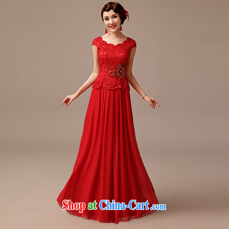 2015 new marriages served toast long retro a field for package shoulder lace red dress red XXL