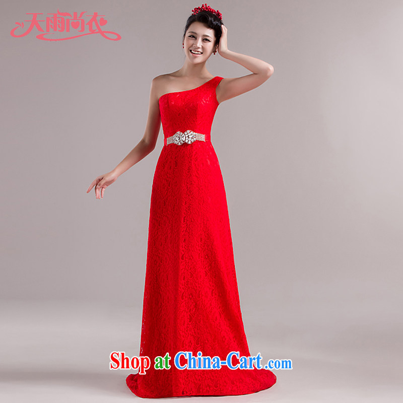 Rain was Yi New moderator long skirt Palace style, bridal gown dress uniform toast the shoulder parquet drill lace long drag to dress LF 104 red XXL