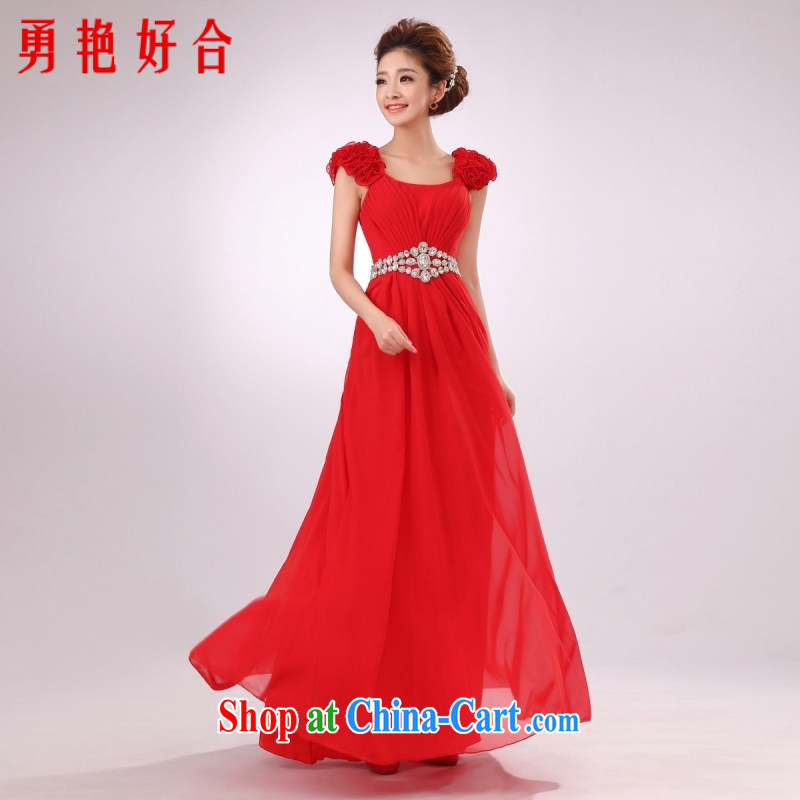 According to the 2015 Uganda new dresses long red bridal bridesmaid serving double-shoulder dress uniform toast the dress Red. size color will not be returned.