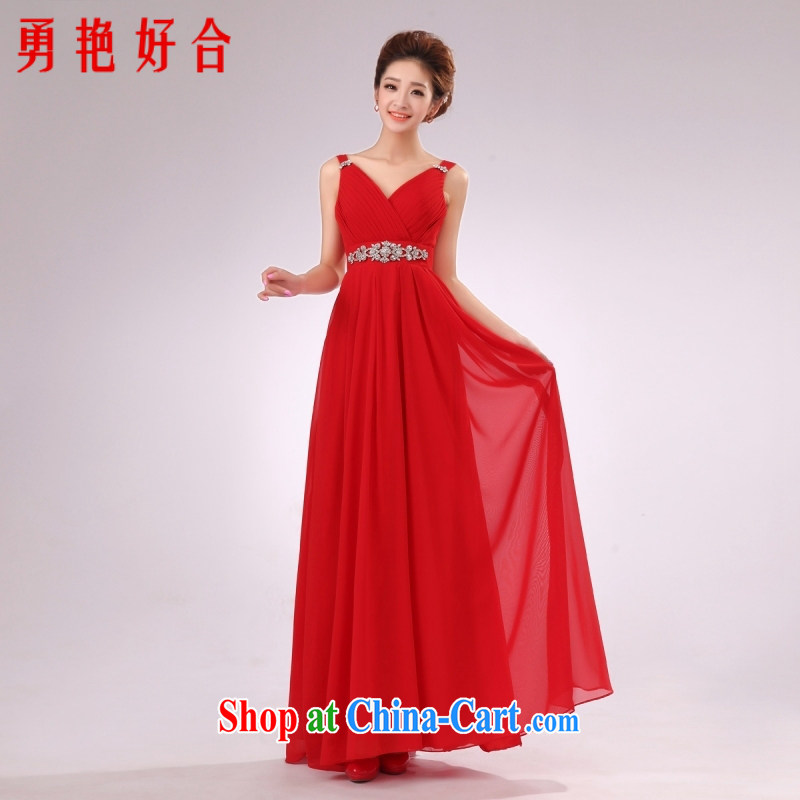 According to the 2015 Uganda new Snow-woven long dress red dresses bridal bridesmaid performances serving double-shoulder dress Red. size color will not be returned.