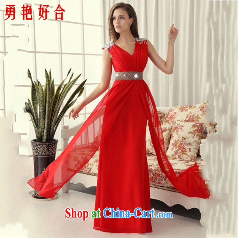 According to the 2015 Uganda new retro bridal bridesmaid toast performances serving evening dress/Long/champagne color dress hand-making red. size color will not be returned.