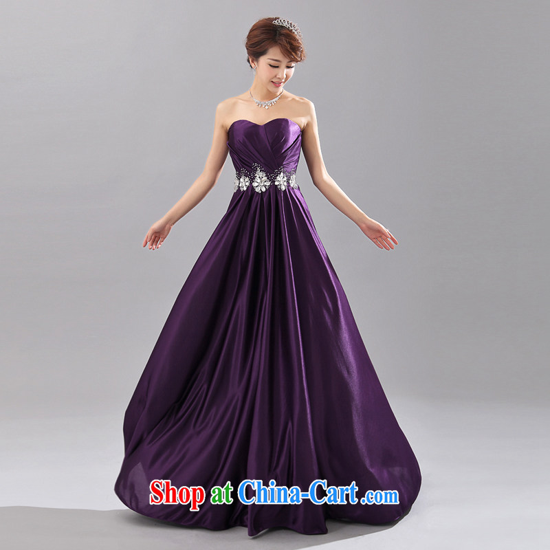 Honeymoon bridal 2015 bridal dresses chest bare wood drill bridal toast dress show long dress party dress show purple XL