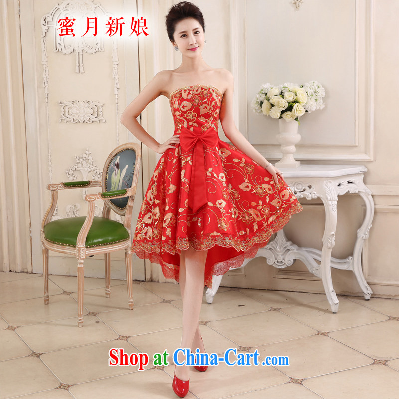 Honeymoon bridal 2015 spring and summer new bride short before long after marriage yarn lace red toast serving small dresses cheongsam dress red XL