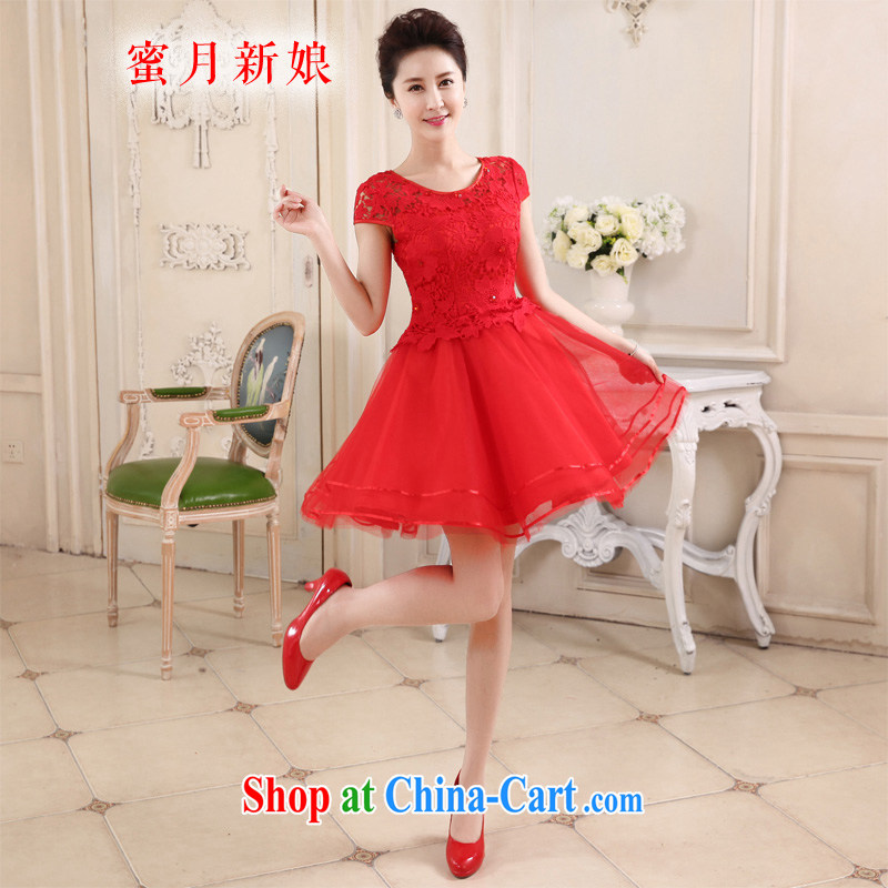 Honeymoon bridal 2015 New Red married women toast serving the Field shoulder lace Beauty Fashion sweet dress spring and summer red XL