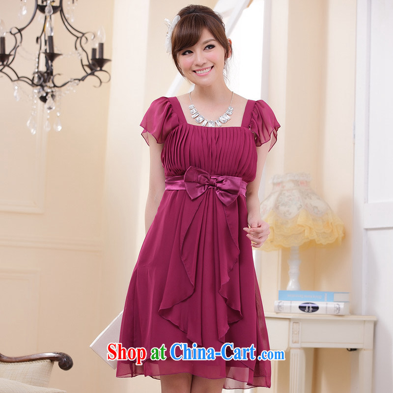 JK 2. YY graphics thin-waist and elegant Princess sister flouncing cuff dress name Yuan dinner will dress fuchsia XXL
