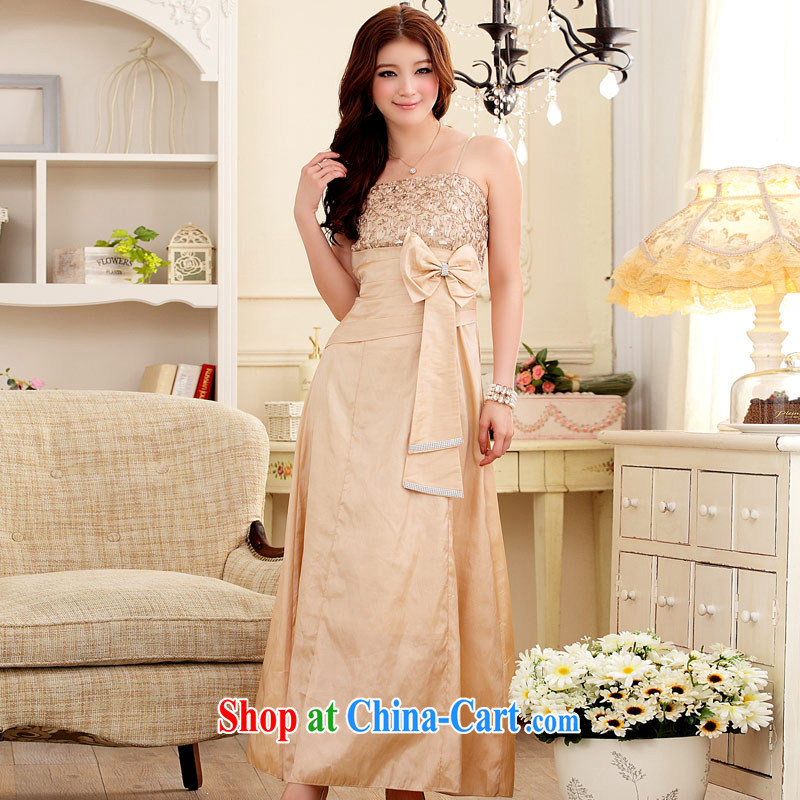 JK 2. YY elegant elegant name Yuan lace water drilling beauty dress long skirt banquet dress champagne color XXL