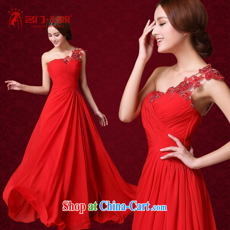 The bride's 2015 New Red bows dress single shoulder elegant wedding dress sweet lace 588 L