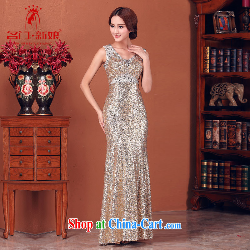 The bride 2015 New evening gown gold foil dress flash wedding dress 580 L