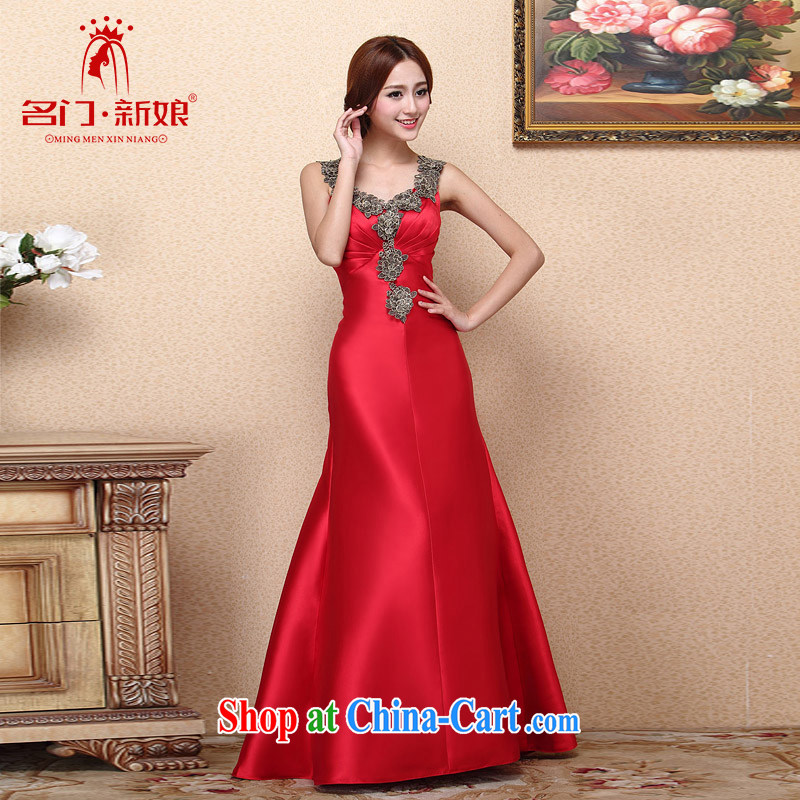 The bride's 2015 New Red bows dress at Merlion dress dinner service wedding dress 662 M