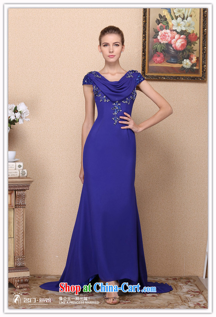 The Bride S 2017 New Dress Royal Blue Tail Hand Drill Elegant Wedding 693 L