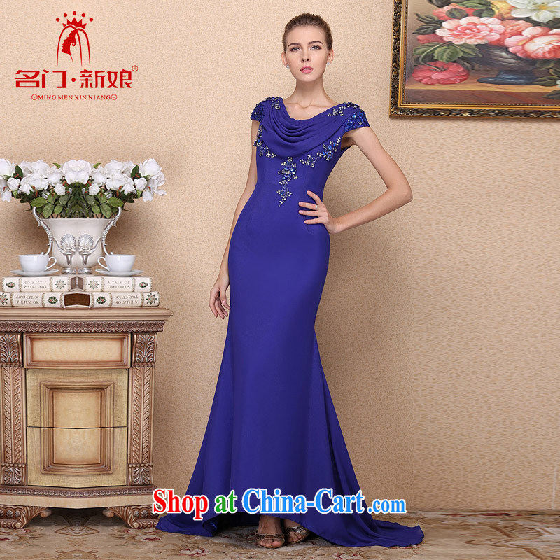 The bride's 2015 new dress royal blue Tail dress hand drill elegant wedding dress 693 L