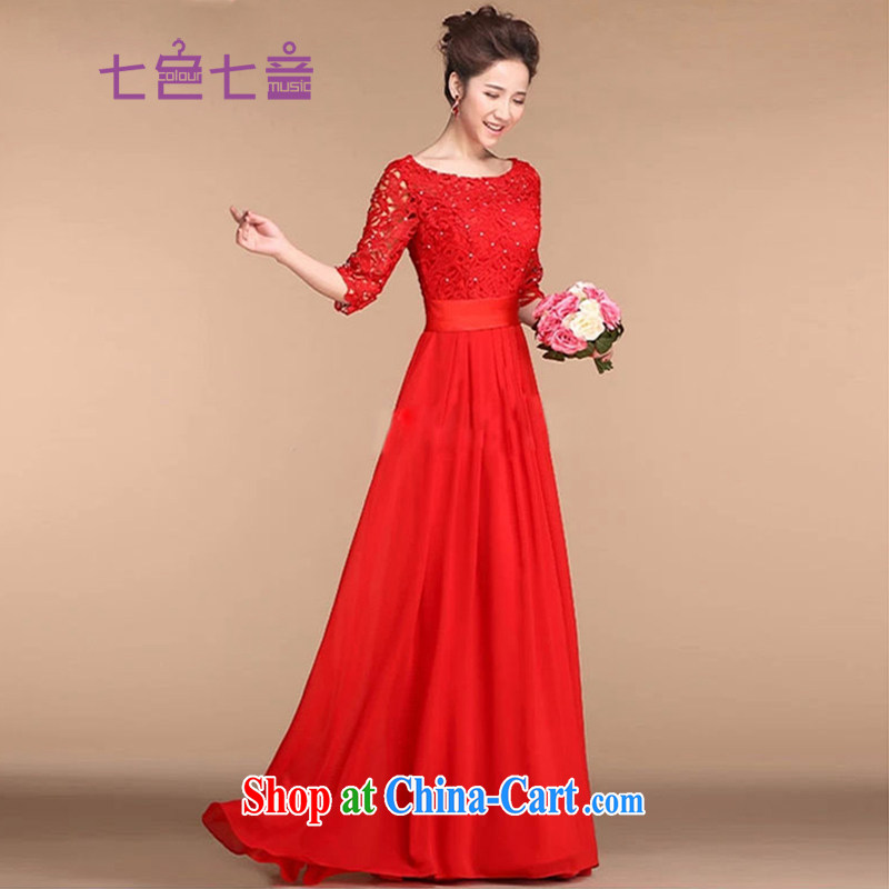 7 color 7 tone classic 2014 new bridal dresses red wedding toast clothing retro lace-back doors L dresses in 001 cuff long XXL
