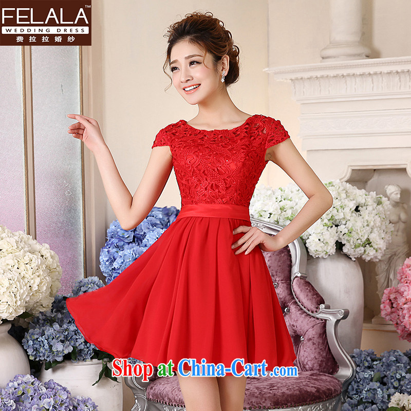 Ferrara �� 2015 new wedding dresses red cheongsam dress short large code marriages served toast summer short-sleeved Short M Suzhou shipping
