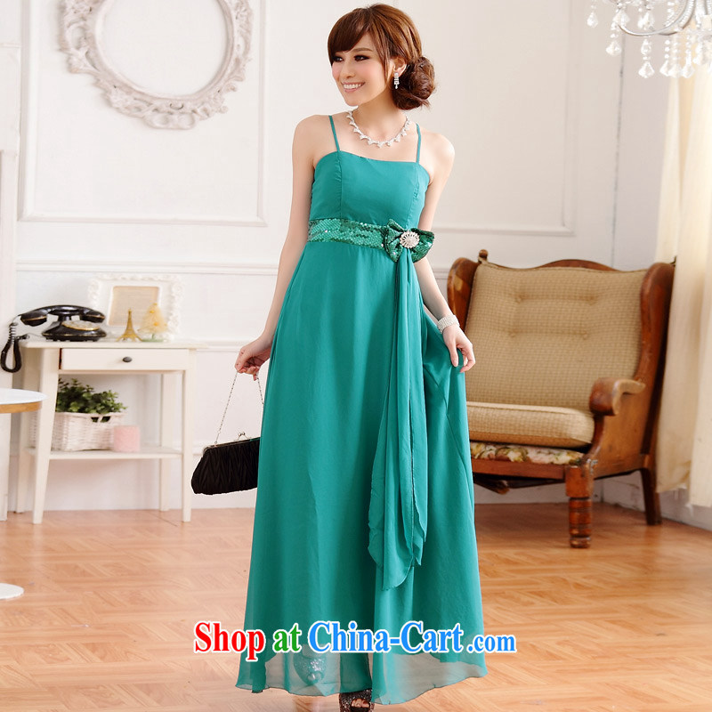 JK 2. YY Western-style light drill straps long evening dress sister bridesmaid's dresses green XXL