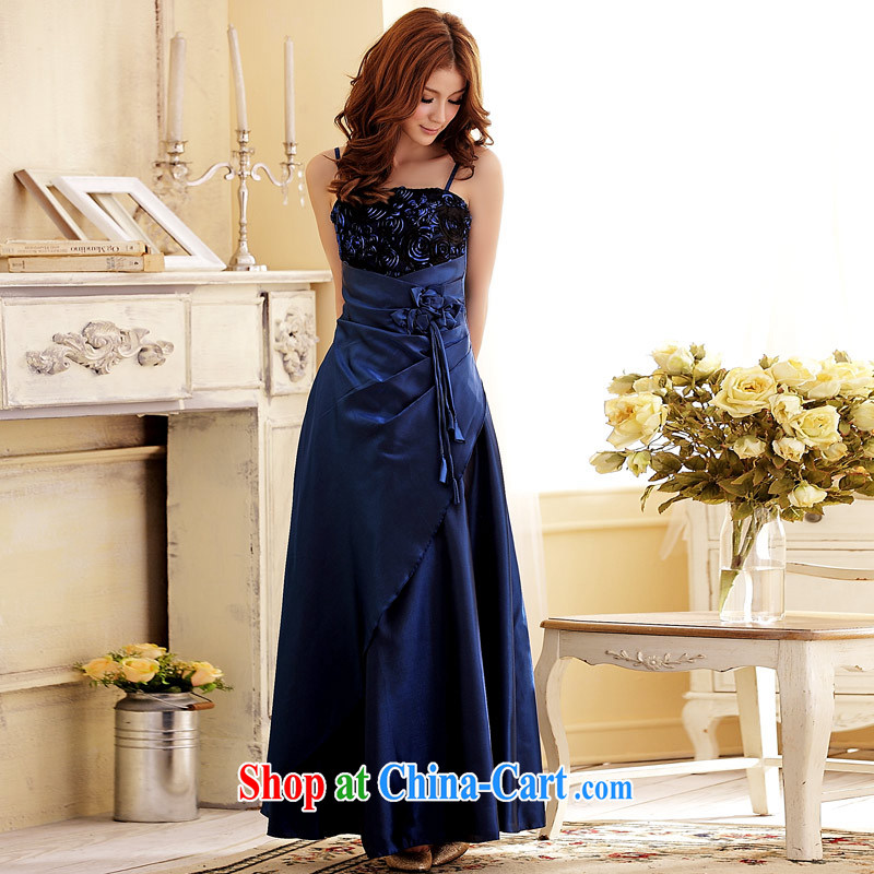JK 2. YY dinner wedding rose blossoms and elegant long moderator dress long skirt straps dress blue XXL
