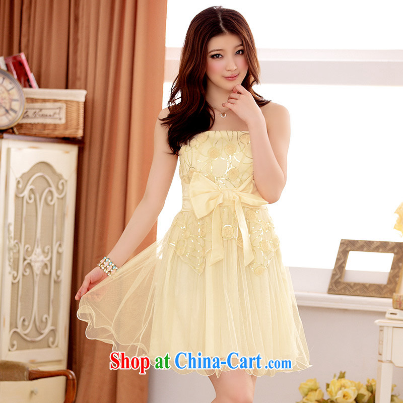 JK 2. YY spring and summer, take a bow-tie graphics thin short dress code is the bare chest dress champagne color XXL