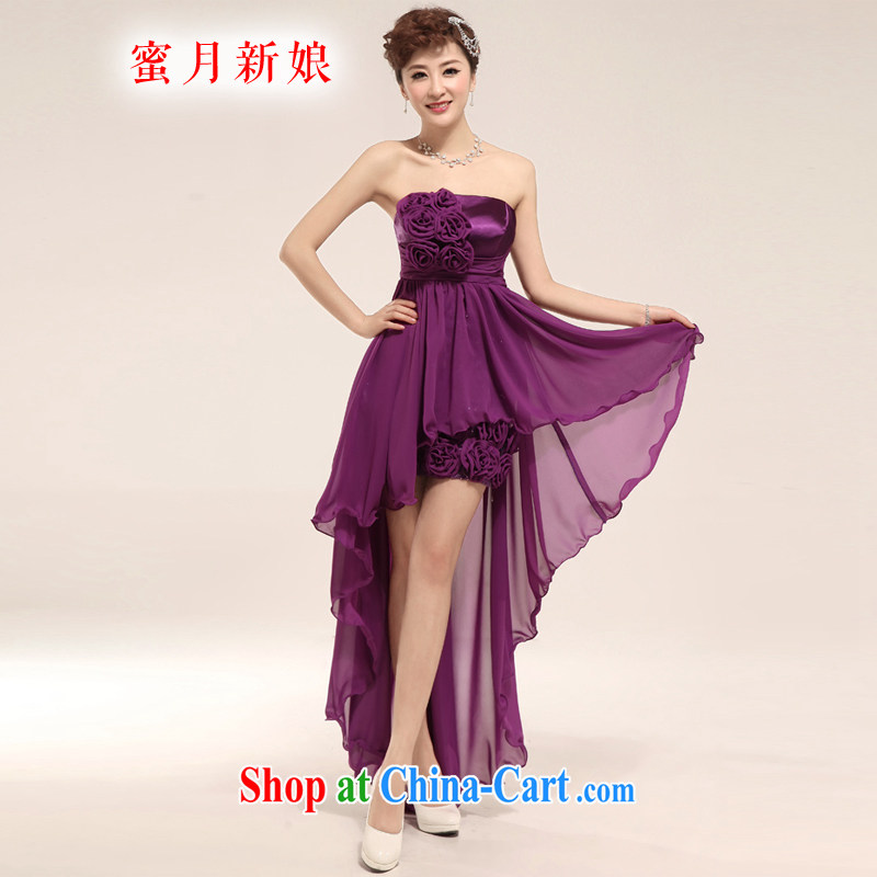 Honeymoon bridal 2015 new Korean bridal bridesmaid wedding toast short purple dress wiped his chest after short long dress purple XL