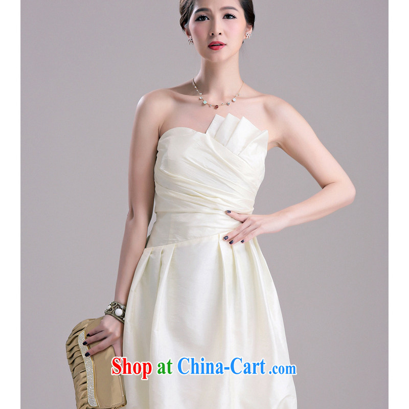 Light (at the end QIAN MO) Elegant chest American fold lantern skirt with dress female foreign dress dress evening dress uniform toast apricot XL