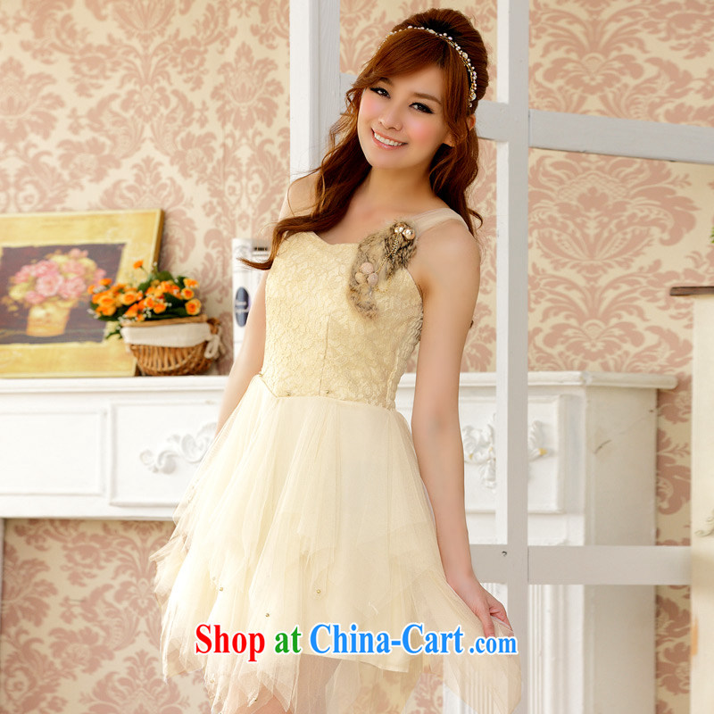 JK 2. YY New Name-yuan Web yarn Princess dinner will be accompanied by her husband's short dress stylish single shoulder larger dresses champagne color XXL