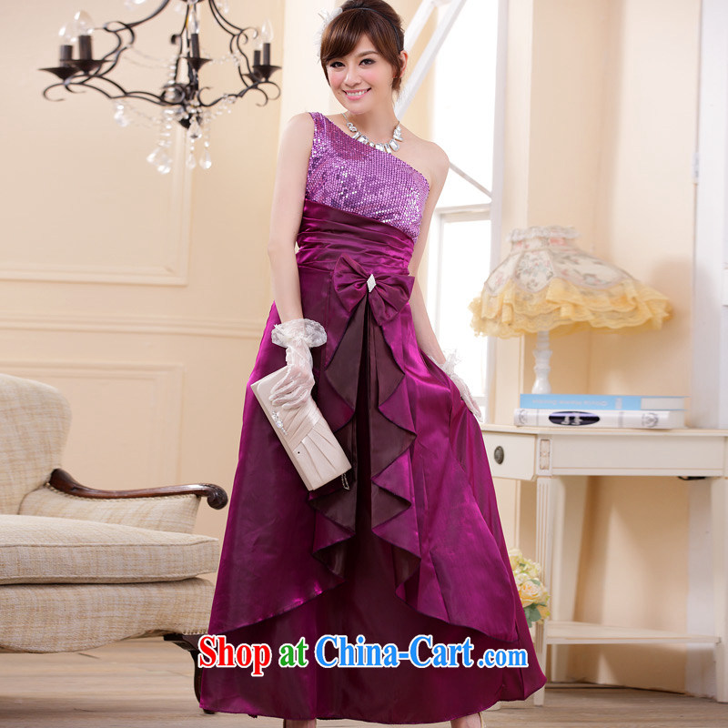 JK 2. YY stylish long dinners moderator dress single shoulder larger dresses purple XXL