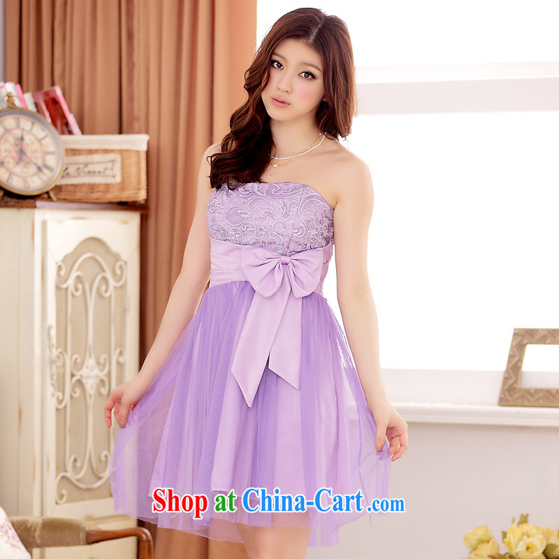 JK 2. YY Korean version of Ha Ji-won, a yarn-erase chest Web yarn large code short dress dresses purple XXL