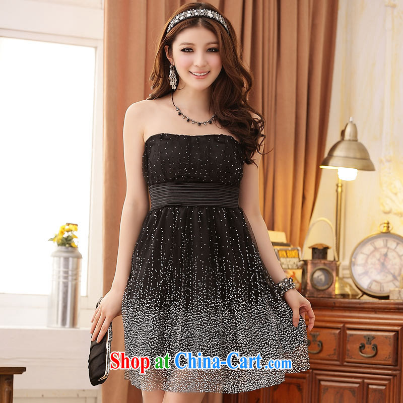 JK 2. YY 2014 new sexy Super Star Internet yarn-waist dinner will Princess dress Korean version of Yuan erase chest short dresses black XXL
