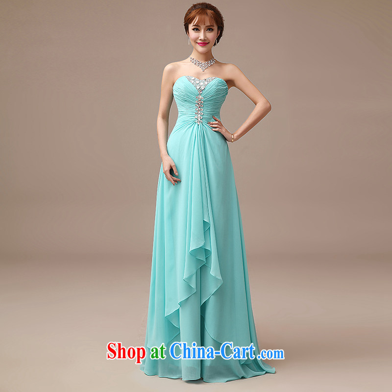 dirty man 2015 new bride wedding toast serving Korean version Mary Magdalene Beauty Chest diamond jewelry blue fall gown blue L