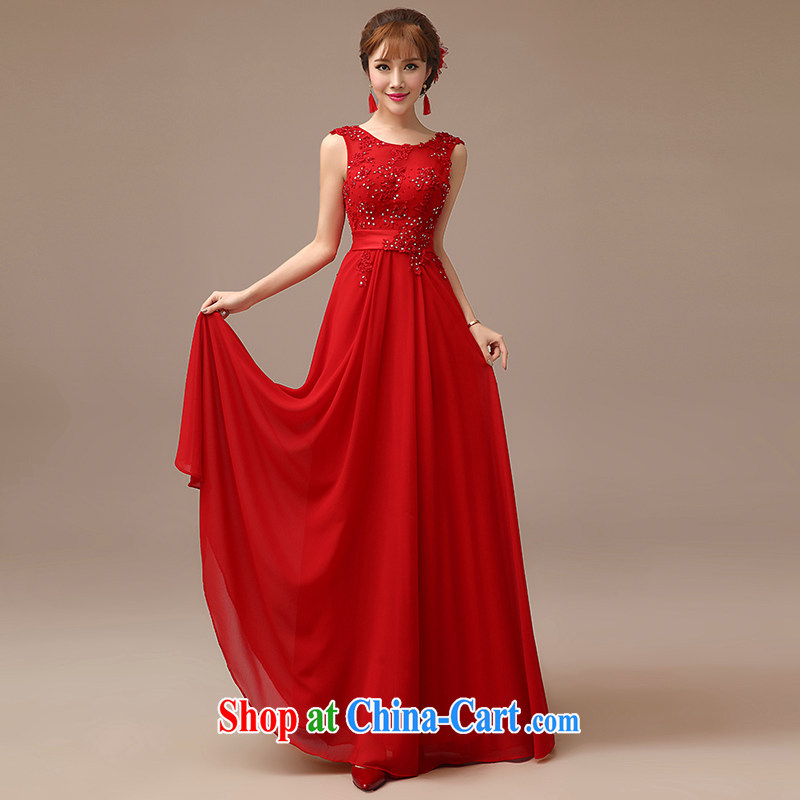 2015 New Red video thin dress bride wedding toast serving long red field shoulder dress red XL