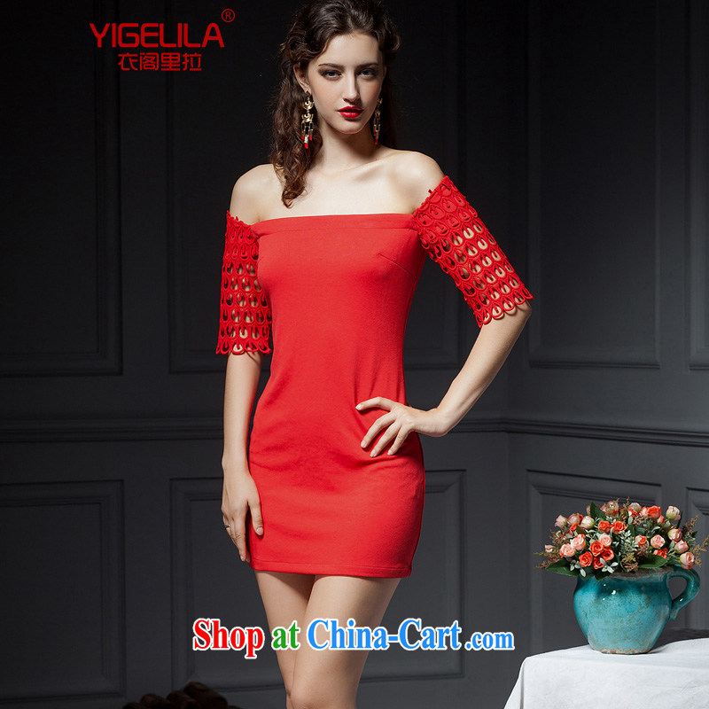 Yi Ge lire/YIGELILA Blue Bird embroidery, wave 5 Small cuff dress bridesmaid dress dress toast one shoulder bare shoulders dress red 6624 L
