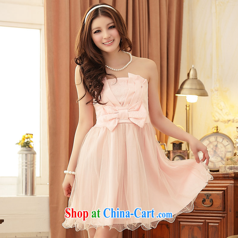 JK 2. YY Korean version of Yuan Princess sweet coral bow tie-waist dress short larger dresses pink XXL