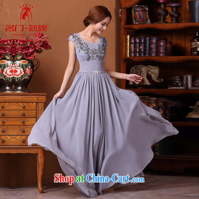 The bride 2015 new elegant dress manual, long dresses, diamond gray 593 L