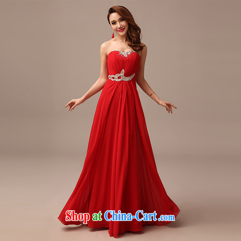 2015 New Red video thin dress bride wedding toast serving long red dress red XL