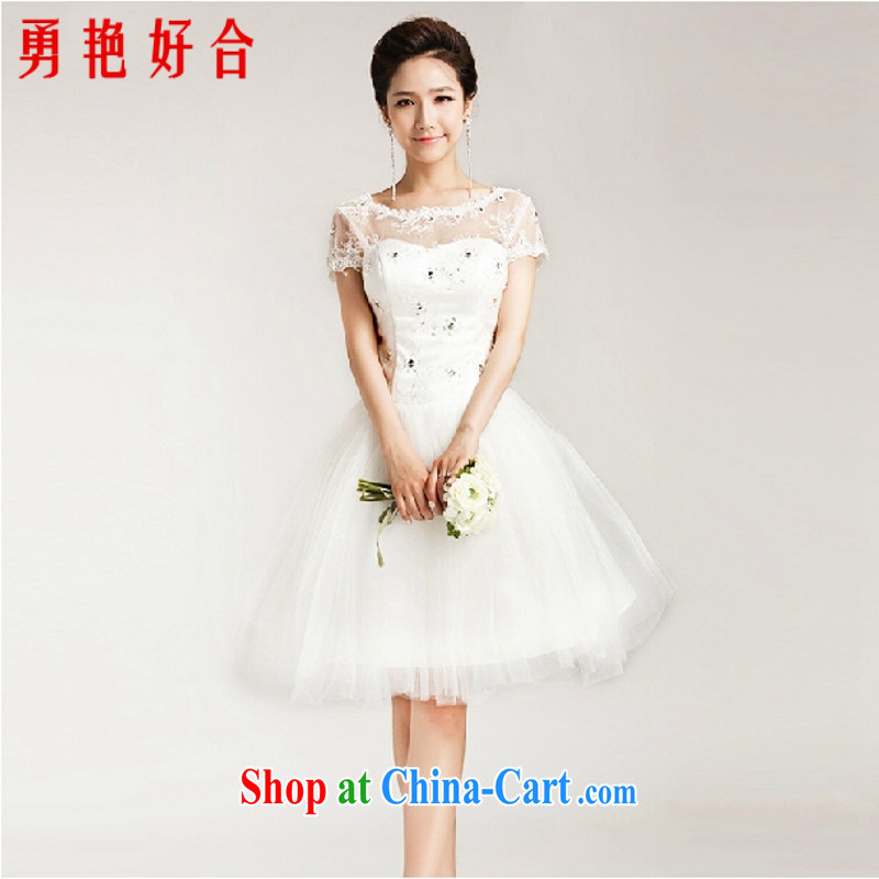 In accordance with the Uganda kyung dong 2015 summer wedding bridal wedding dress sweet Princess shaggy skirts package shoulder lace short-sleeved short strap wedding white. size color is not returned.