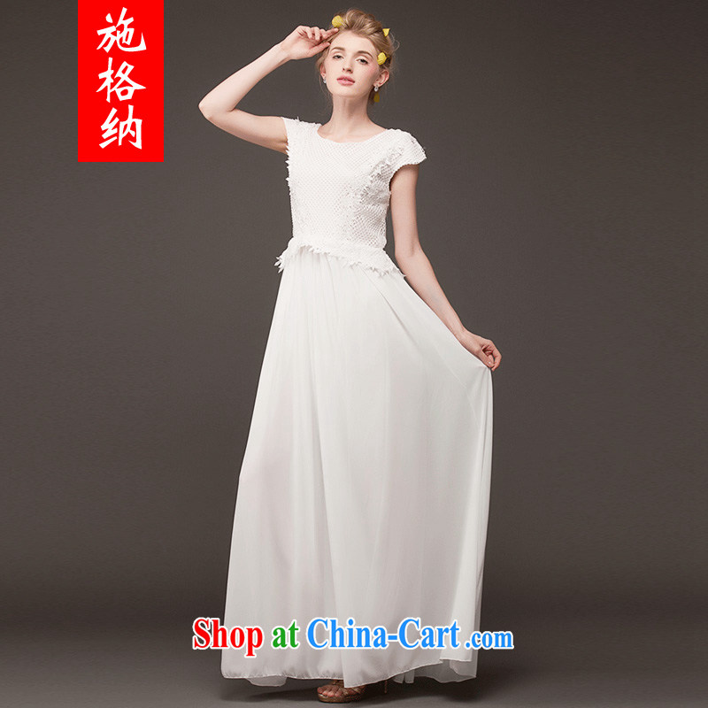 Rate the rate, 2014 new larger female embroidered large lace fashion style beauty short-sleeved berth long skirt 8039 white S