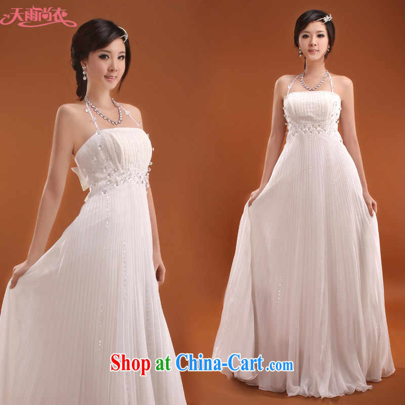 Rain is still clothing bridal wedding dresses 2015 parquet drill beautiful bride wedding dress Korean high waist wedding dresses LF 121 white M