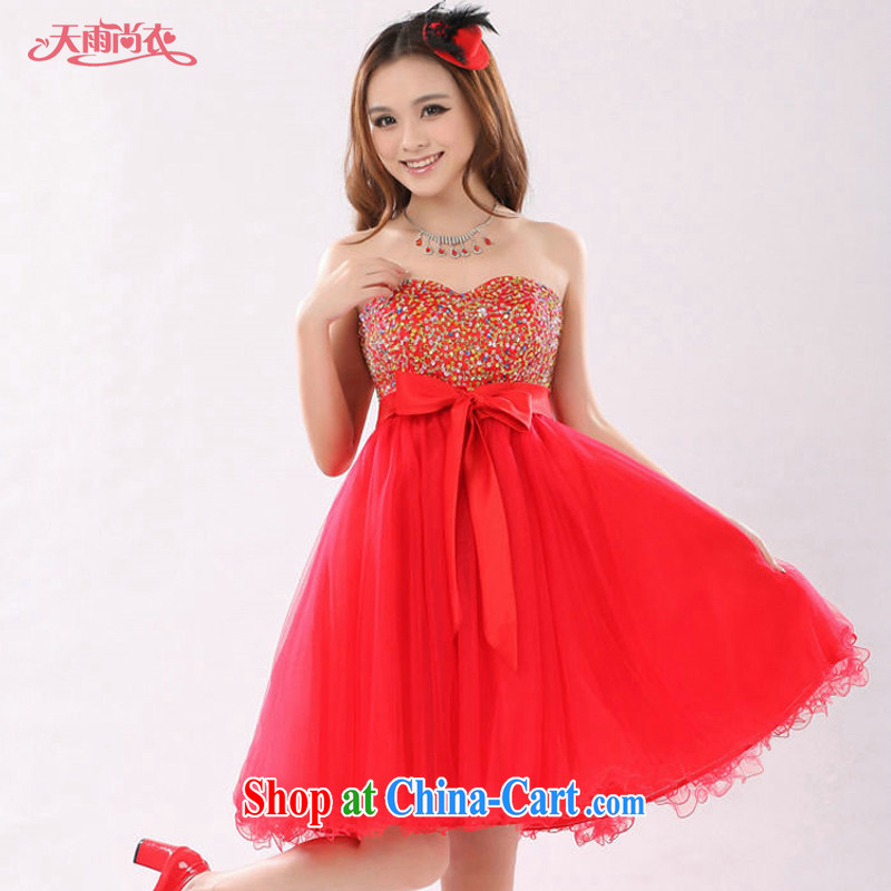 Rain is still clothing bridal dresses wedding toast clothing Korean high waist pregnant larger thick MM can wear short dresses small LF 153 red XXXL