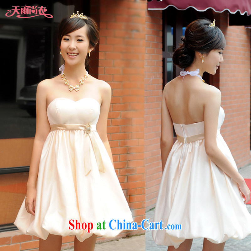 Rain is still Yi marriages 2015 new toast clothing bridesmaid dresses small thick MM larger dresses pregnant women high waist dress LF 114 champagne color XXL
