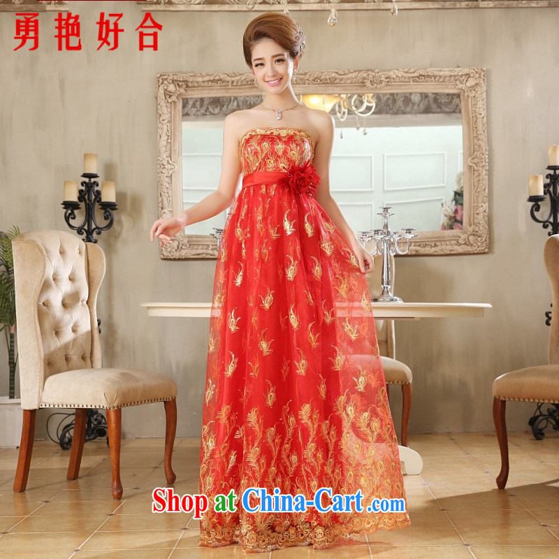 According to the 2015 Uganda new pregnant women wedding dresses bride's former long after marriage lace red bridesmaid toast serving small dress red long. size color will not be returned.